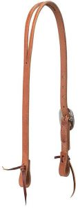 Buttered Premium Harness Leather Split Ear Headstall, Floral Hardware