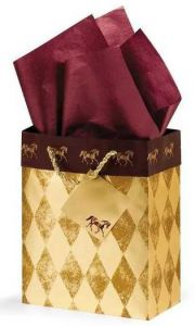 Horses Gift Bag - Gold/Burgundy - Small