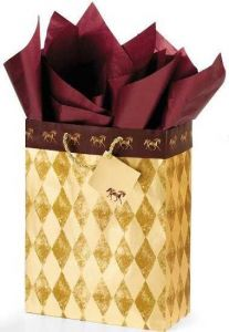 Horses Gift Bag - Gold/Burgundy - Large