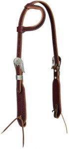 Hand Tooled Sliding Ear Headstall with Native Border