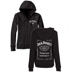 Jack Daniels Ladies Black Zip Front Hoodie