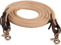 Jute Roping Rein 1/2″ X 8′ With Leather Water Straps & N.P. Scissor Snaps