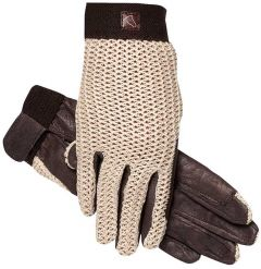 Lycrochet Ultraflex Glove - Brown With Natural Leather Palm