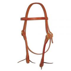 Straight Leather Browband Headstall With Ties
