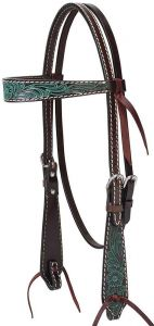 """Turquoise Cross Carved Turquoise Flower 5/8"""" Brow Band Headstall, Dark Oil"""