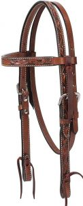 """Turquoise Cross Floral Carved 5/8"""" Pony Brow Band Headstall, Chestnut"""