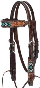 """Turquoise Cross Turquoise Beaded 5/8"""" Pony Brow Band Headstall, Dark Oil"""