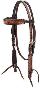 """Turquoise Cross Geometric Tooled 5/8"""" Browband Headstall"""