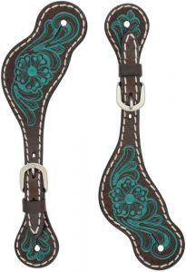 Ladies' Carved Turquoise Flower Spur Straps