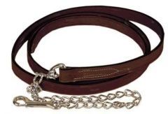 """Tory Leather 1"""" Single Ply Lead With Nickel Plated Chain"""