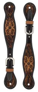 Turquoise Cross Floral Tooled Spur Straps, Ladies