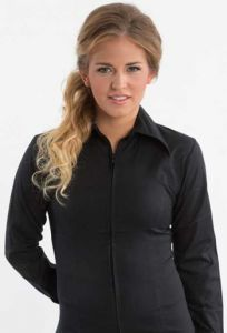 Zip Up Fitted Show Shirt - Black