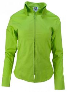 Zip Up Fitted Show Shirt - Lime Green