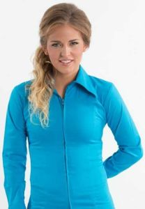 Zip Up Fitted Show Shirt - Turquoise