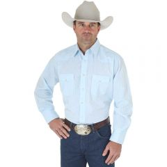 Wrangler Blue Western Snap Shirt - Long Sleeve Dobby Stripe