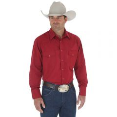 Wrangler Wine Western Snap Shirt - Long Sleeve Dobby Stripe