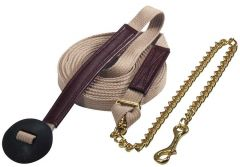 Flat Ribbed Cotton Lunge Line w/Chain 25'