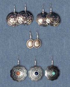 Concho Earrings with Sterling Silver Ear Wires