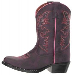 "Laredo Children's 8"" Purple Oiled Round Boots Round Toe Western Boot"