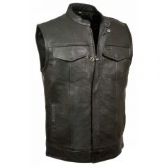 KX Leather Scooter Vest with No Seam Back