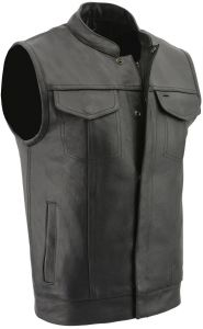 Milwaukee Leather Men's Leather Open Neck Snap And Zip Front Club Style Vest