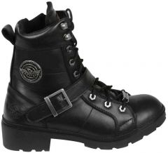 Ladies Lace to Toe Side Buckle Leather Boot With Plain Toe