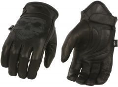 Men's Skull Premium Leather Short Wrist Gel Palm Driving Glove