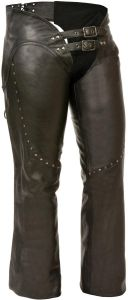 Milwaukee Leather Ladies Low Rise Double Buckle Leather Chaps With Rivet Detail