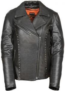 Ladies Black Leather Vented Classic Jacket With Rivet Detailing