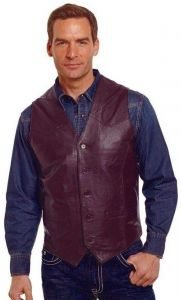 Brown Genuine Leather Western Button Front Vest