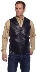 Black Genuine Leather Western Button Front Vest