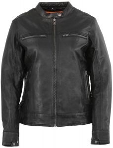 Milwaukee Leather Women's Black Vented Lightweight Leather Triple Stitch Scooter Jacket