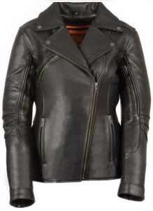 Ladies Long Length Beltless Vented Biker Jacket