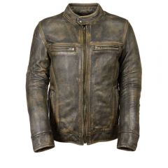 Men's Distressed Brown Vented Leather Jacket With Triple Stitch