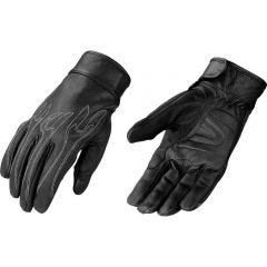 Mens Flame Embroidered Leather Motorcycle Riding Glove With Gel Palm