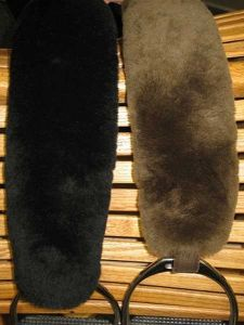 """Sheepskin Stirrup Strap Covers 14"""" L Velcro on fit 2-inch wide leather or Biothane straps"""