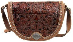 Trinity Ranch Tooled Design Collection Messenger Bag - Brown