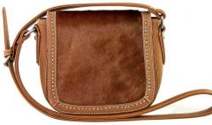 Trinity Ranch Genuine Hair-On Leather Collection Saddle Bag - Brown
