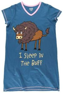 I Sleep In The Buff (Buffalo) V-Neck PJ Nightshirt
