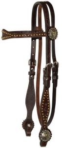 5/8″ Browband Headstall with Brass Spots and Floral Tooling